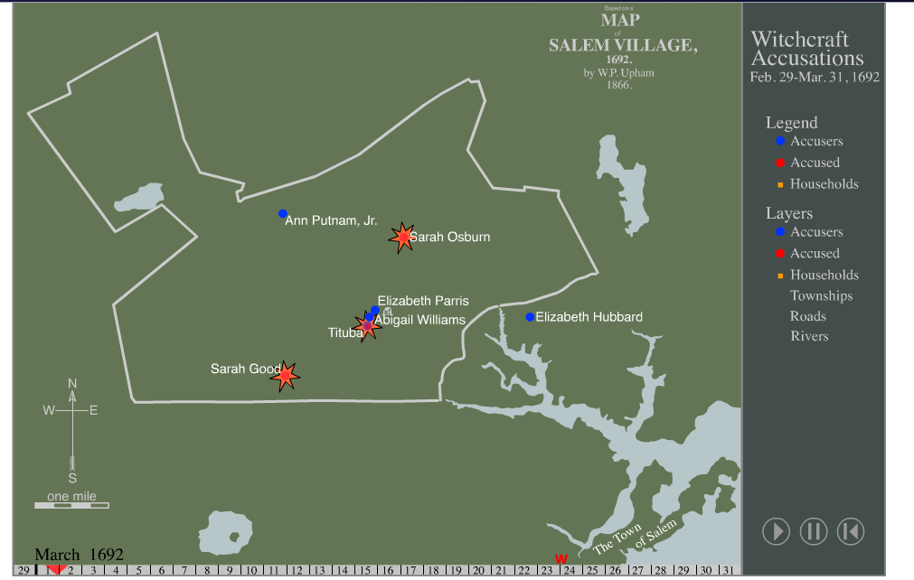 salem witch trials location map Map Of Witchcraft The Salem Witch Trials salem witch trials location map